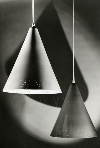 Pendant lights designed by Lisa Johansson-Pape for Stockmann-Orno (enameled metal).