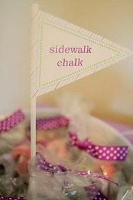 sidewalk chalk kid's party favor