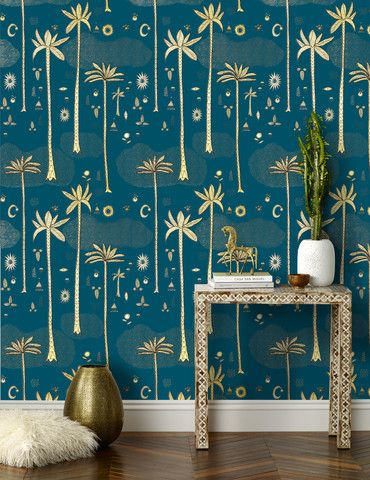 Cosmic Desert (Teal) wallpaper by Justina Blakeney for Hygge & West (Roll: 27 in x 30 ft, $165. Sample: 8.5 in x 11 in $5)