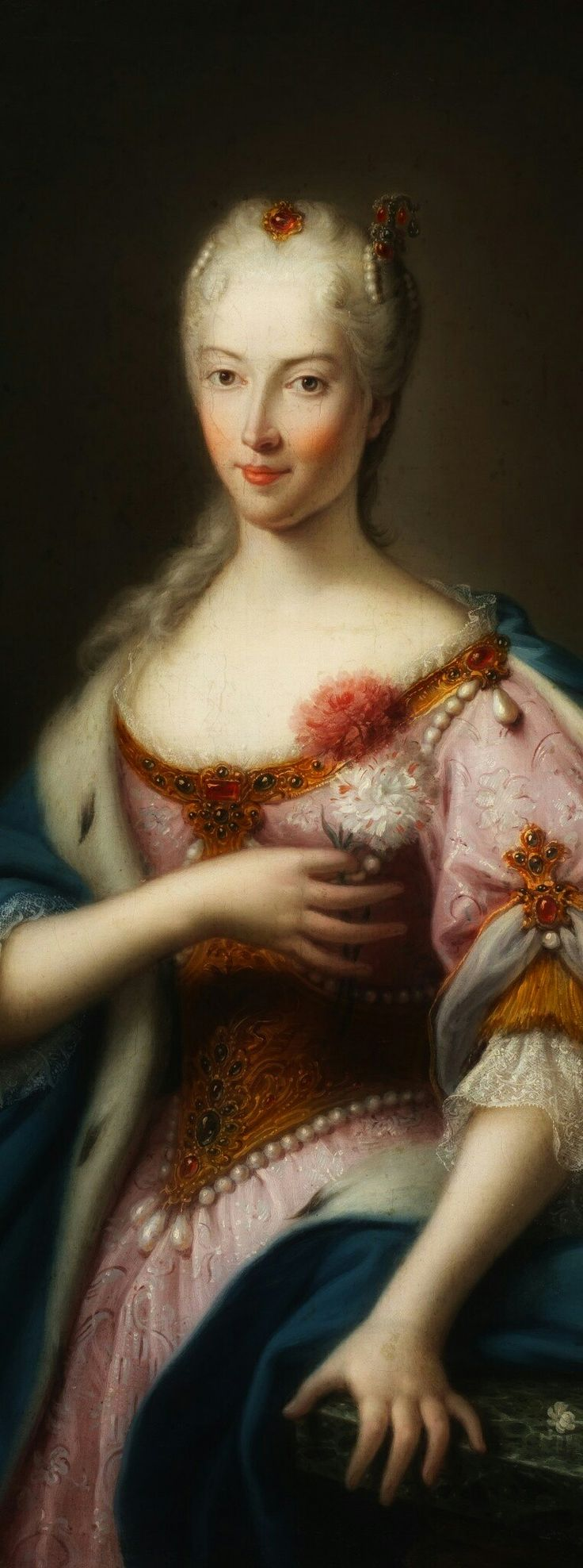 "Maria Clementina Sobieska (Polish noble) - Author Unknown XVIII.Maria Clementina Sobieska (sometimes spelled Maria Klementyna Sobieska) (18 July 1702 – 18 January 1735) was a Polish noblewoman, the granddaughter of the Polish king John III Sobieski, the wife of James Francis Edward Stuart, Jacobite pretender to the British throne, and mother of Charles Edward Stuart, the ""Young Pretender"" #portrait#painting#mariaklementynasobieska#mariaclementinasobieska#sobiesky#polishnoble#poland"