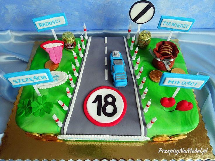 """Tort na 18 urodziny w stylu angielskim - """"Młody kierowca"""". Mój pomysł na tort angielski dla chłopca, ze wzornikiem na poszczególne elementy z masy cukrowej."""