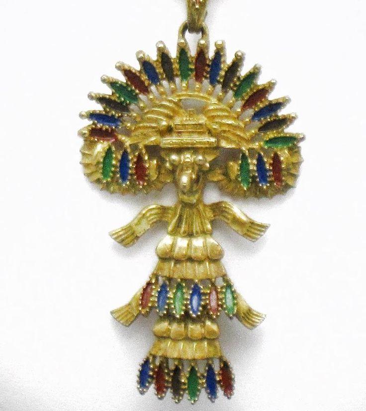 Best 25 aztec pendants ideas on pinterest aztec jewelry maya castlecliff larry vrba mayan aztec pendant necklace with chain vintage 1970s mozeypictures Images
