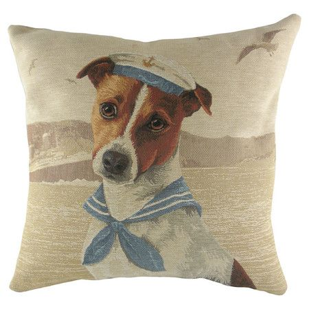 Showcasing a dog wearing a hat design, this cotton-mix cushion looks right at home on your leather sofa or cosy reading nook. Product...
