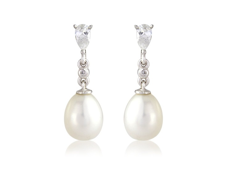 Classic wedding earrings. Portia - Sterling silver pearl and crystal simple drop earrings. Claw set pear shape white stone top with pearl drop.  Two little pieces of affordable luxury.