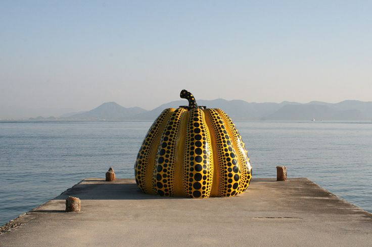 A sculpture by Yayoi Kusama on the island of Naoshima, Japan