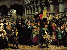 Catholic partisans watched with excitement the unfolding of the July Revolution in France, details of which were swiftly reported in the newspapers. On 25 August 1830, at the Théâtre Royal de la Monnaie in Brussels, an uprising followed a special performance (in honor of William I's birthday) of Daniel Auber's La Muette de Portici (The Mute Girl of Portici), a sentimental and patriotic opera suited to fire National Romanticism, for it was set against Masaniello's uprising against the…