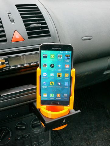 3D printed phone - cup holder adapter: Use the cup holder in your car to hold your phone instead. STLs available on Thingiverse.