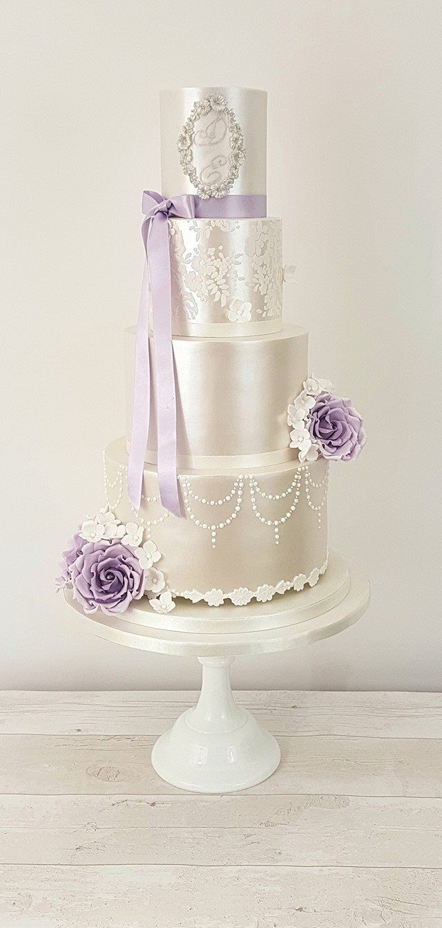 Lilac lace lustre wedding cake