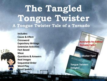 STEM/STEAM are lots of fun with this tangled tongue twister story that teaches tornado facts and cause and effect! Each slide includes a fun tongue twister that provides information along with a Tornado Fact box with additional info. Includes great safety acronyms for saving lives!
