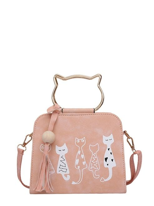 4f36245137 Cartoon Print PU Shoulder Bag With Cat Ear Handle | Labor Day Sale ...
