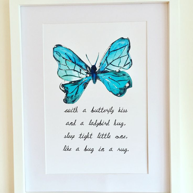 Aqua nursery colour print https://www.etsy.com/uk/listing/506791189/butterfly-picture-bedtime-poem-nursery