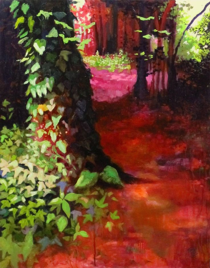 original oil forest landscape shade light red green pink big size artwork the path of the king dramatic chiaroscuro Scotland wood garden de MariaMazaPaintings en Etsy
