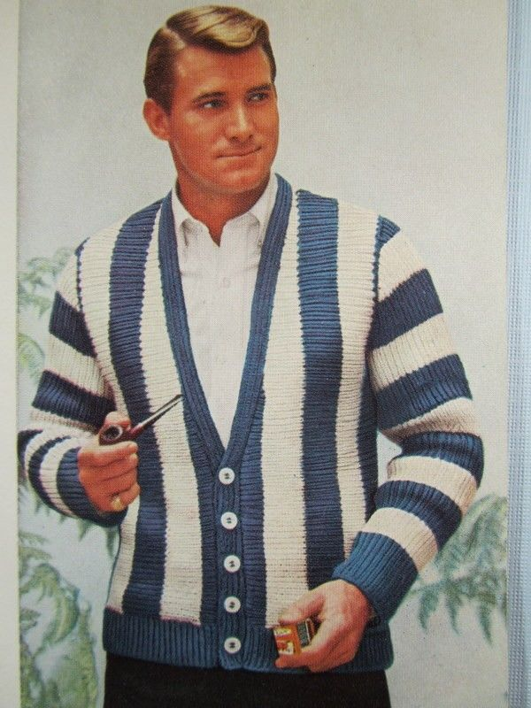 Knit Men's Cardigan Sweater Pattern - 1950's Vintage Pattern, Men's Cardigan KIY2. $3.00, via Etsy.