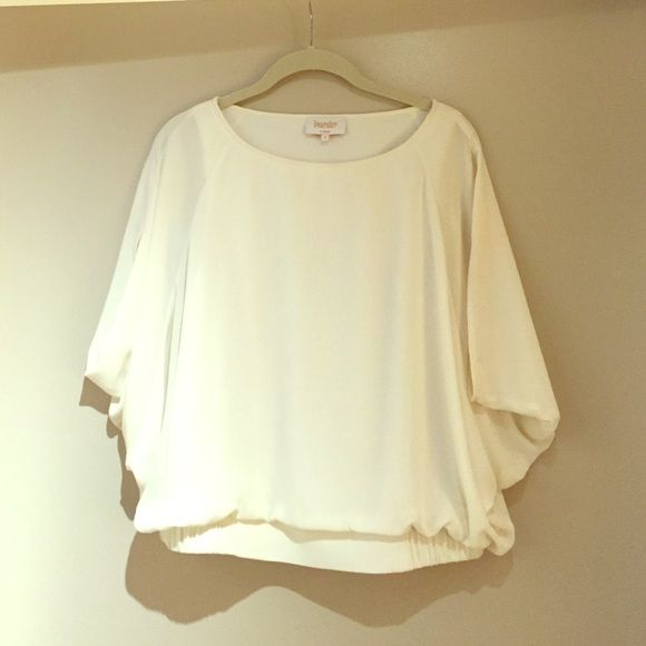 Laundry Cream Batwing Top EUC / no stains or pulls. Blouses at the waist with elegant batwing sleeveless detailing. Laundry by Shelli Segal Tops Blouses