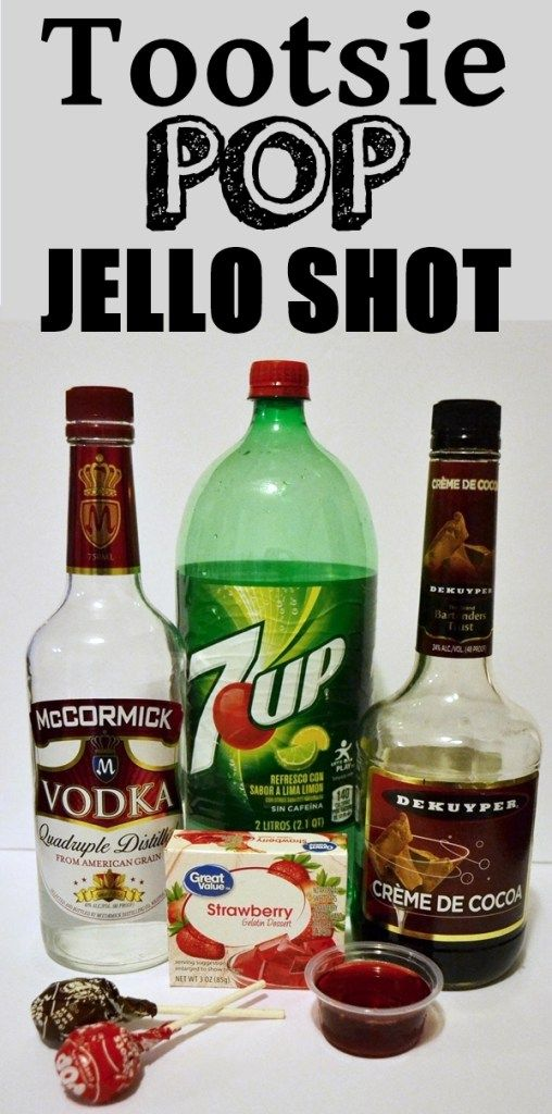 Easy Tootsie Pop Jello Shot Recipe. Strawberry Tootsie Pop Shot, could be orange, grape or cherry.  Drink and shot recipes. Jello shot recipes. Party recipes.