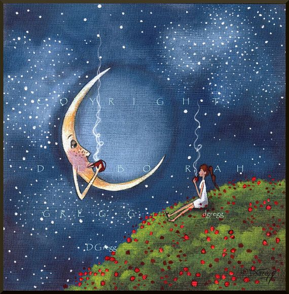 Bending The Moons Ear a small Friends Moon Coffee Break Poppy field Spring PRINT by Deborah Gregg