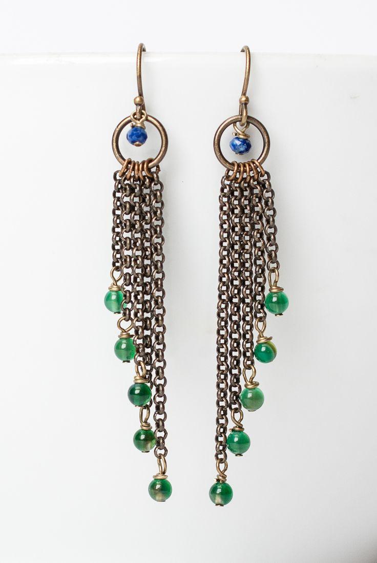 Azure Antique Brass Chandelier Tassel Earrings