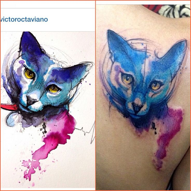 17 best images about tattoo on pinterest compass tattoo for Watercolor cat tattoo