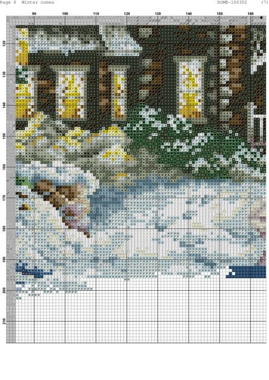 Cross-stitch Winter Comes, part 9 of 11..  color chart on parts 2 & 3
