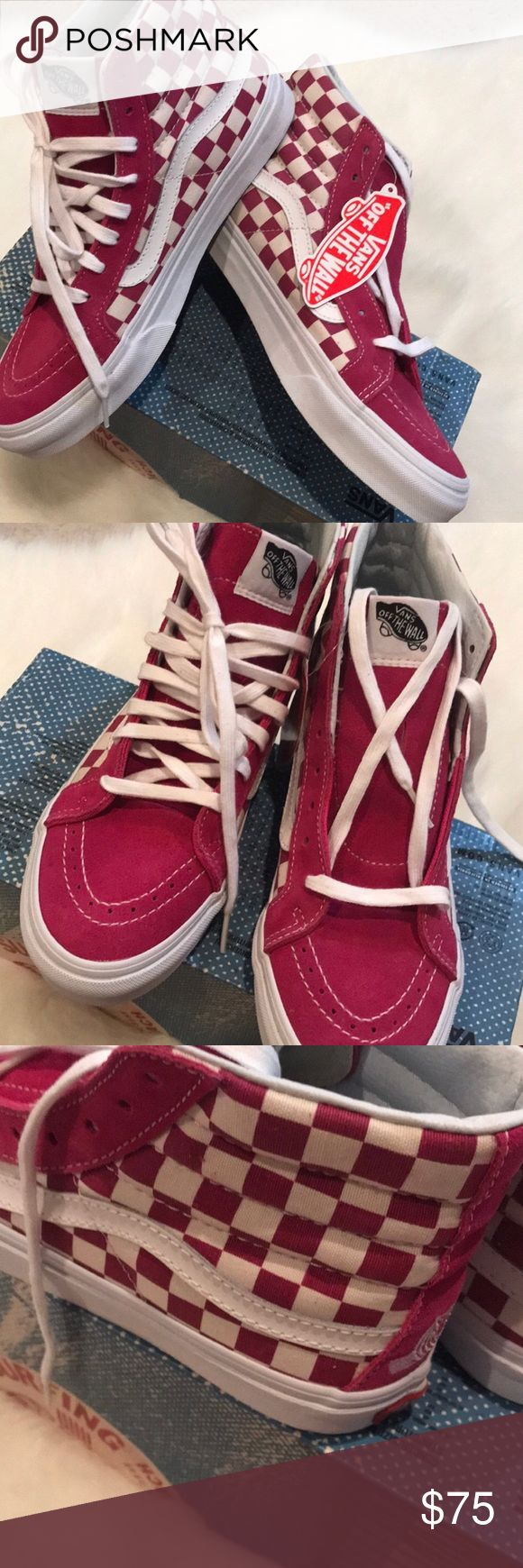 Special Edition NWT Vans checkered surf rider sz8 Special Edition NWT Vans fushia suede and berry/white checkered canvas surf rider classics sk8-hi. Size 8. Box with no lid. Cool surfer embroidery on back. Posh Ambassador 775+ items sold with perfect 5 star rating. Vans Shoes Sneakers