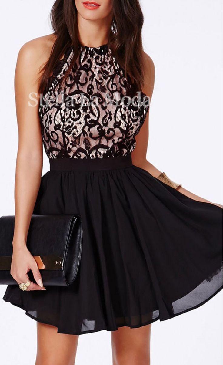 $22.99 Black Cross Back Lace Detail Party Skater Dress - Stella La Moda