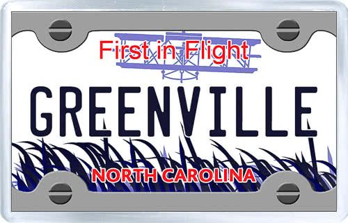$3.29 - Acrylic Fridge Magnet: United States. License Plate of Greenville North Carolina