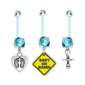 "Pregnancy Belly Button Ring 3-Pack Feet on Heart, Baby On Board and Pacifier Aqua Gem 14g BioFlex Navel Piercing Maternity Body Jewelry  --  5 out of 5 stars. ""They're gorgeous! Thanks so much for helping us  """
