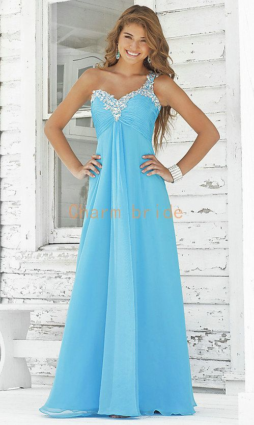 one shoulder chiffon blue prom dresses    pink long evening dress with rhinestones   best cute party gowns for girls