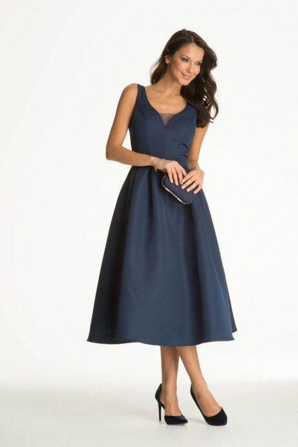 Kleid hochzeit gast dunkelblau