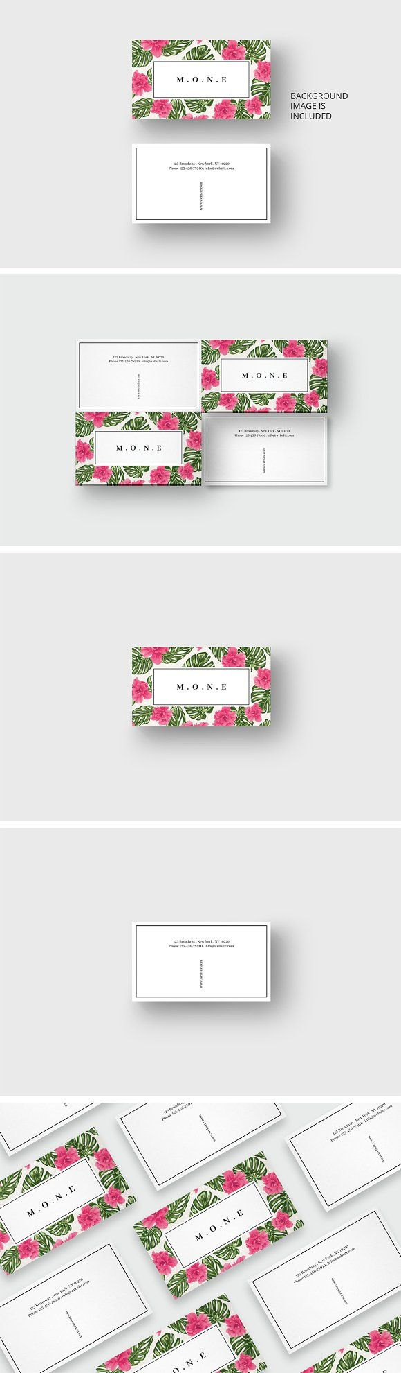 Pink flowers business card template by AgataCreate on @creativemarket