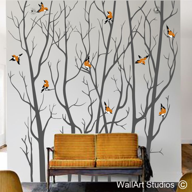 Forest Silhouette Winter Birds Decal