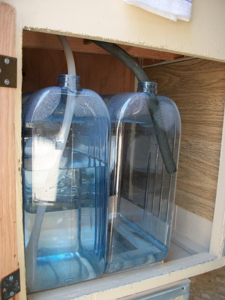 Super easy water system for travel trailer ...2 water jugs...when the clean water is empty, you know the grey water jug is full. No big tanks to mess with.  Works with the hand pump....Thanks, Jane Thibeault!
