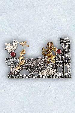 Jerusalem Brooch. 'I Have Set Watchmen'. Gold & Silver Jerusalem Brooch. Jerusalem in Handmade. Red Garnets. January Stone. FREE SHIPPING! by JudaicaBySarah on Etsy