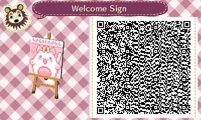 Kawaii Animal Crossing Kitty Welcome Sign QR Code