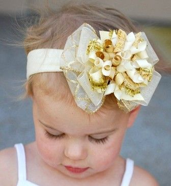Christmas Gold Glitzy Holiday Hair Bow Headband
