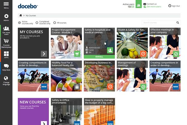 New Docebo Learning Management System home page