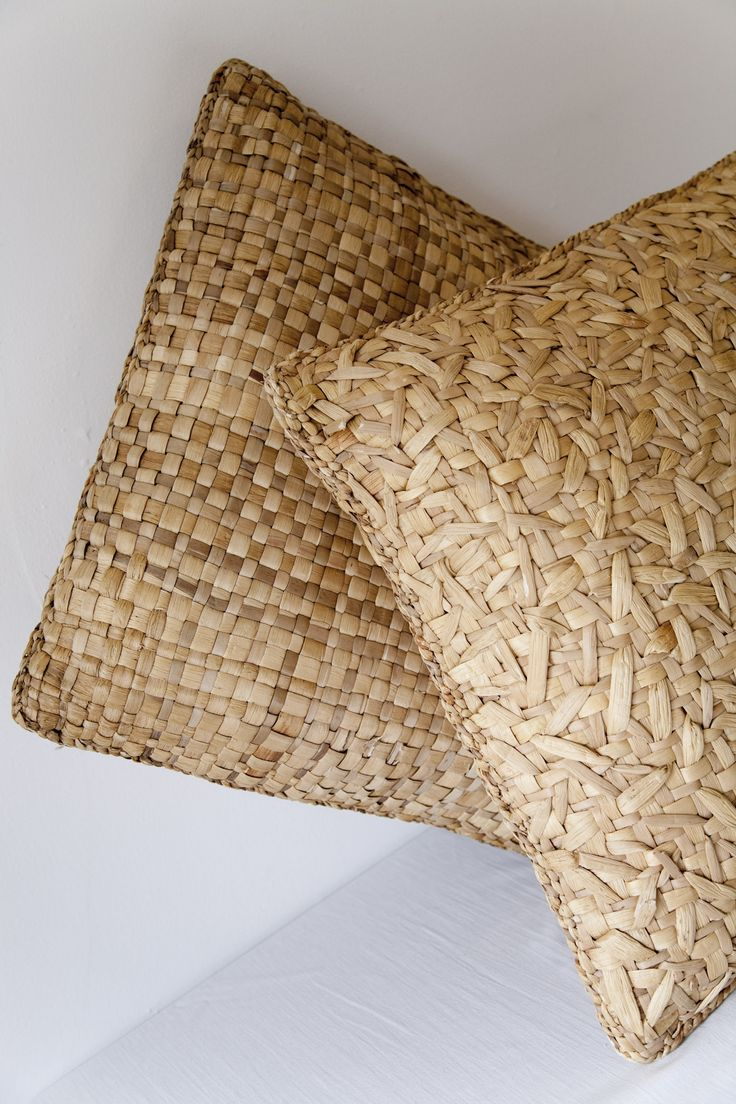 Hyacinth natural aquatic fiber handwoven pillows from Mexico-based American designer Maggie Galton (b.1970). via the designer's site
