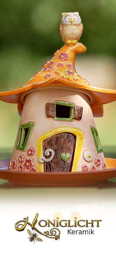 www.honiglicht.de Elfenhaus Windlicht von Honiglicht Keramik