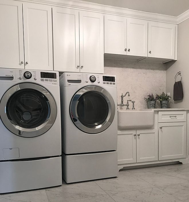 Cabinets Above Washer Dryer White Laundry Rooms White Marble