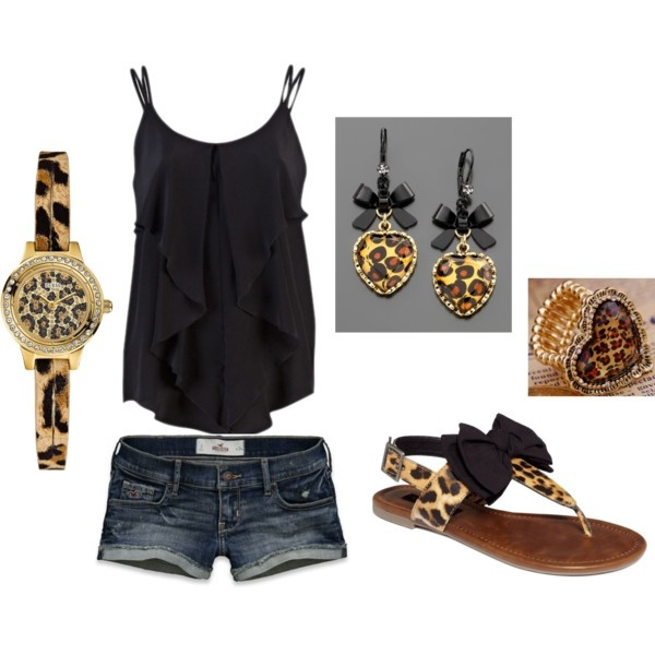 Simple outfit dressed with cheetah: Shoes, Simple Outfit, Animal Prints, Leopards Prints, Sandals, Zebras Prints, Accessories, Cheetahs Prints, Earrings