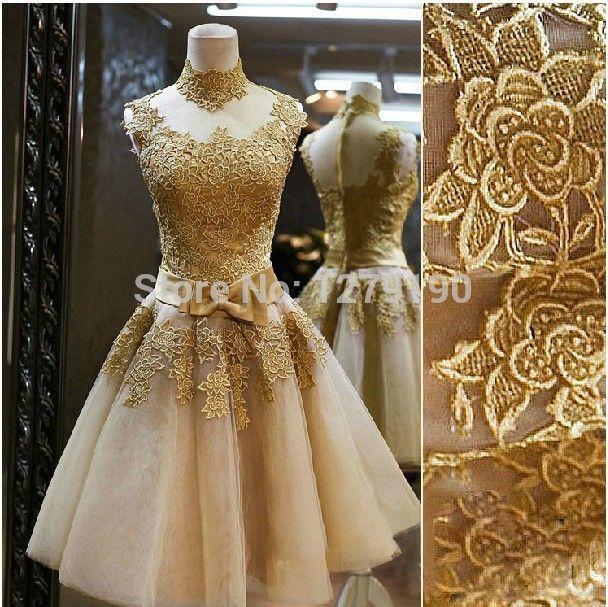 Fashion 2014 ouro Lace curto vestido de noite Rhinestone Prom Party vestidos de fiesta personalizar zuhair murad tarik ediz TK239 em Vestidos de Noite de Casamentos e Eventos no AliExpress.com   Alibaba Group