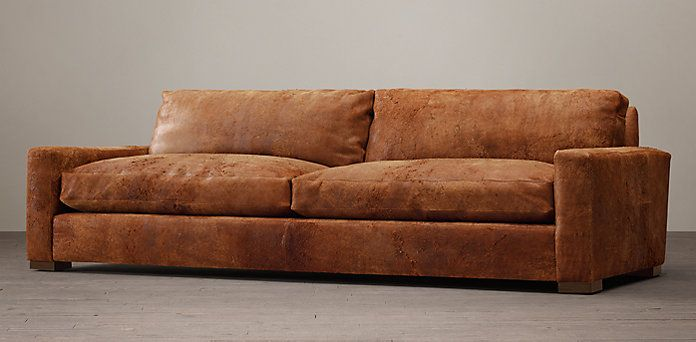 This sofa is so stunning in person. I am in love with this orange leather! Maxwell | Restoration Hardware