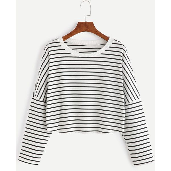 Contrast Striped Drop Shoulder Crop T-shirt ($7.99) ❤ liked on Polyvore featuring tops, t-shirts, shein, black and white, long sleeve crop top, striped tees, long sleeve t shirts, white long sleeve tee and cropped tops