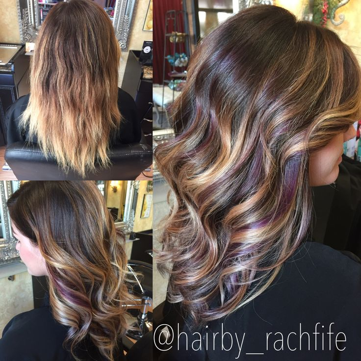 Colormelt balayage ombre with purple peekaboo highlights Hair by Rachel Fife @ SF Salon