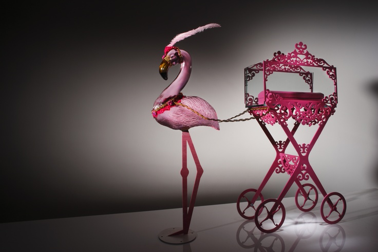Flamingo drawn hearse    www.youngsglassdesign.com  Photo by Simon Bruntnel
