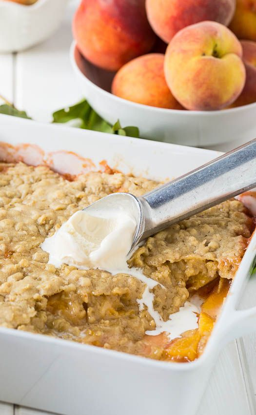Oatmeal Cookie Peach Cobbler - This easy peach cobbler recipe is topped with oatmeal cookie topping.