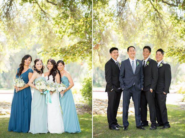Wedding party attire for a blue wedding