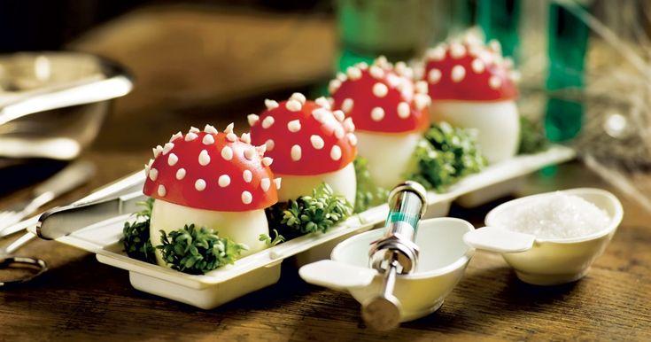 recette enchantée de champignons vénéneux à base d'œufs durs et de tomate #halloween