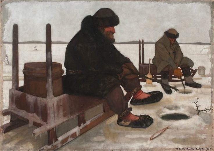 Juho Rissanen (1873-1950) Avannolla onkijat / Winter Fishing ; Icefishing 1900 - Finland