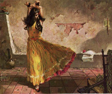 "GYPSY DANCER ~ In the Romani language, rom is a masculine noun, meaning ""man, husband"", with the plural roma. Romani is the feminine adjective, while romano is the masculine adjective."